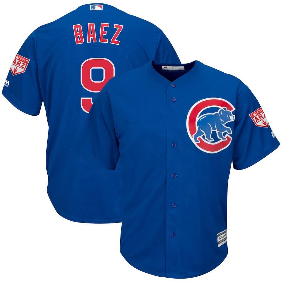 Cubs 9 Javier Baez Royal 2019 Spring Training Cool Base Jersey