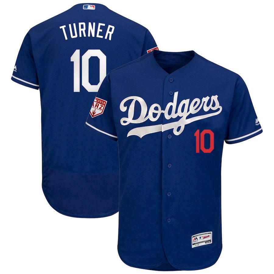 Dodgers 10 Justin Turner Royal 2019 Spring Training Flexbase Jersey