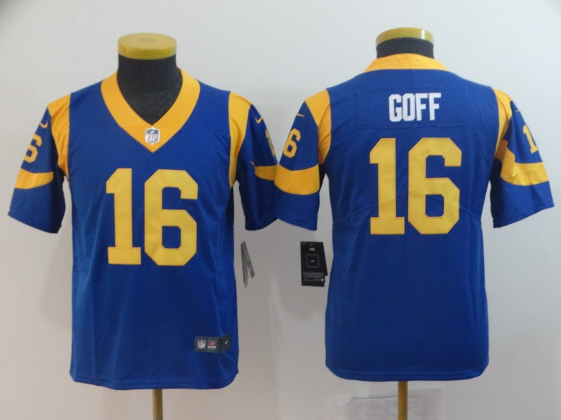 Nike Rams 16 Jared Goff Royal Youth Vapor Untouchable Limited Jersey