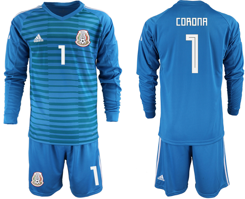 Mexico 1 CORONA Blue 2018 FIFA World Cup Long Sleeve Goalkeeper Soccer Jersey