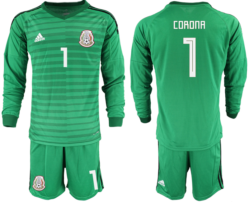 Mexico 1 CORONA Green 2018 FIFA World Cup Long Sleeve Goalkeeper Soccer Jersey