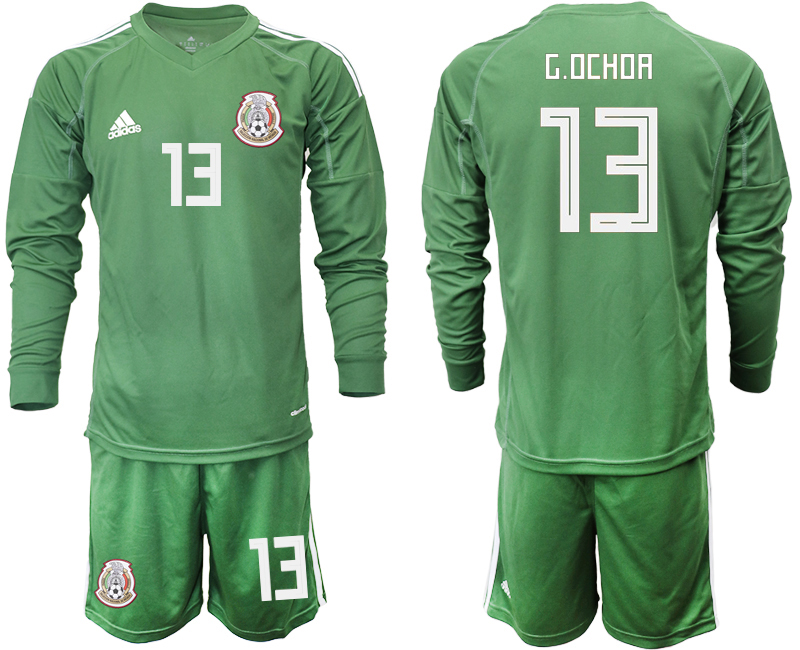 Mexico 13 G.OCHOA Army Green 2018 FIFA World Cup Long Sleeve Goalkeeper Soccer Jersey
