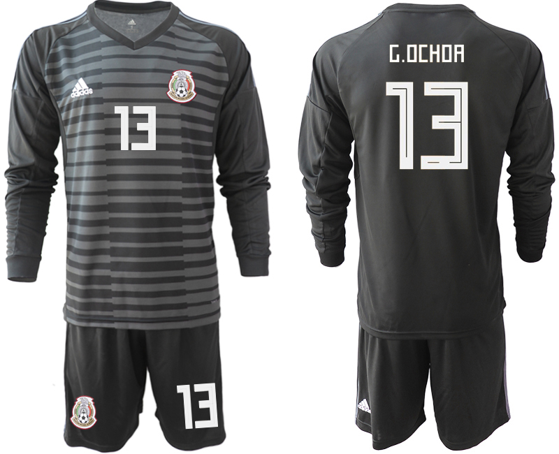 d432574d7 Mexico 13 G.OCHOA Black 2018 FIFA World Cup Long Sleeve Goalkeeper Soccer  Jersey