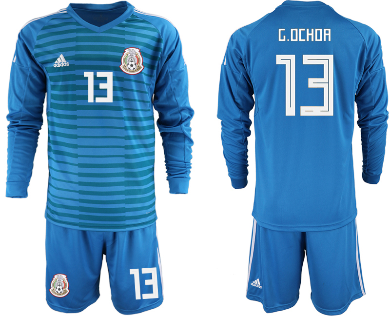 cd612bb00 Mexico 13 G.OCHOA Blue 2018 FIFA World Cup Long Sleeve Goalkeeper Soccer  Jersey