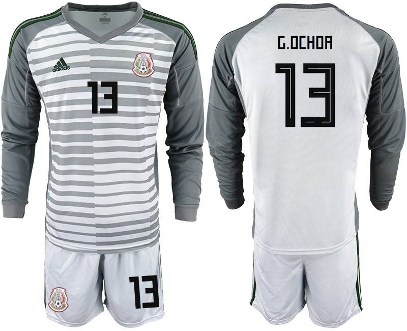 d545e7e1e Mexico 13 G.OCHOA Gray 2018 FIFA World Cup Long Sleeve Goalkeeper Soccer  Jersey
