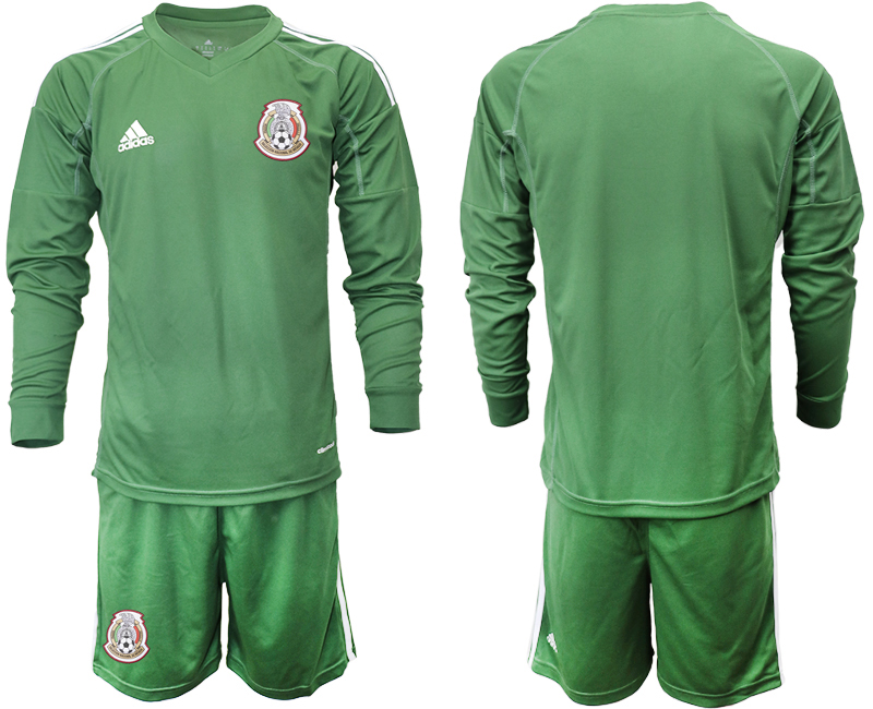 Mexico Army Green 2018 FIFA World Cup Long Sleeve Goalkeeper Soccer Jersey