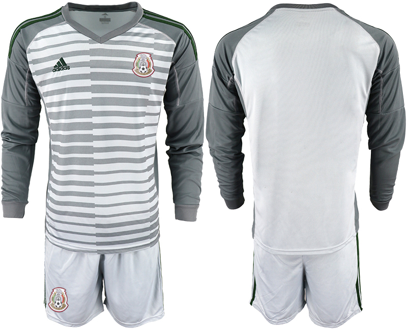 2450e9c3e Mexico Gray 2018 FIFA World Cup Long Sleeve Goalkeeper Soccer Jersey