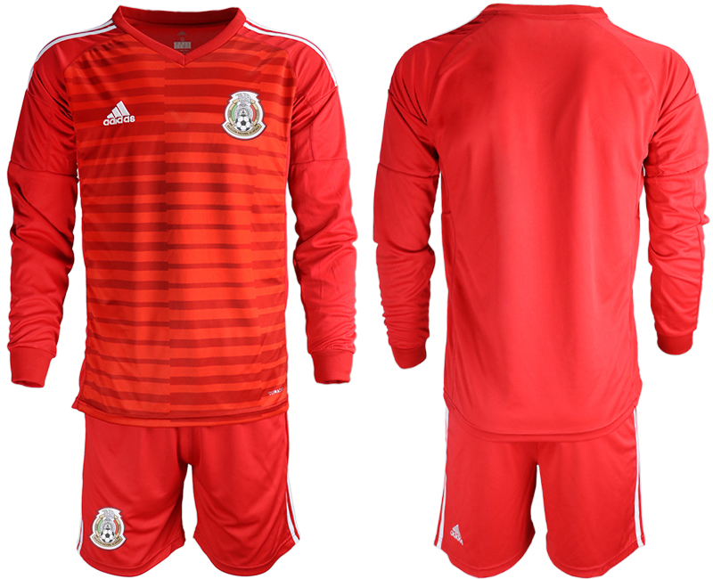 Mexico Red 2018 FIFA World Cup Long Sleeve Goalkeeper Soccer Jersey