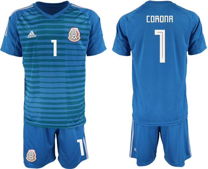 Mexico 1 CORONA Blue 2018 FIFA World Cup Goalkeeper Soccer Jersey
