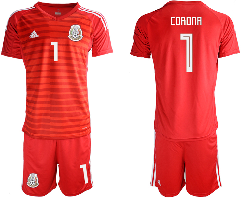 Mexico 1 CORONA Red 2018 FIFA World Cup Goalkeeper Soccer Jersey