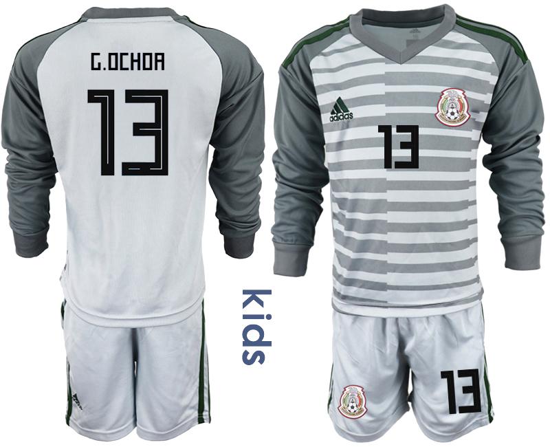 Mexico 13 G.OCHOA Gray Youth 2018 FIFA World Cup Long Sleeve Goalkeeper Soccer Jersey