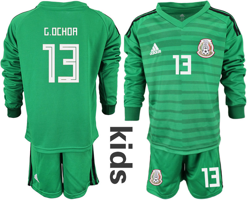 Mexico 13 G.OCHOA Green Youth 2018 FIFA World Cup Long Sleeve Goalkeeper Soccer Jersey