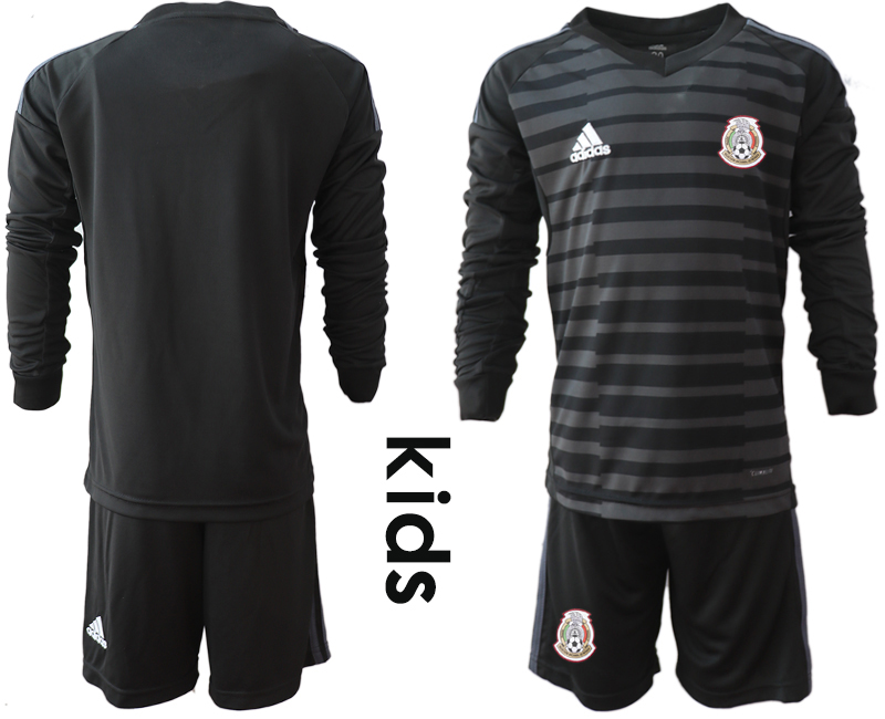 Mexico Black Youth 2018 FIFA World Cup Long Sleeve Goalkeeper Soccer Jersey