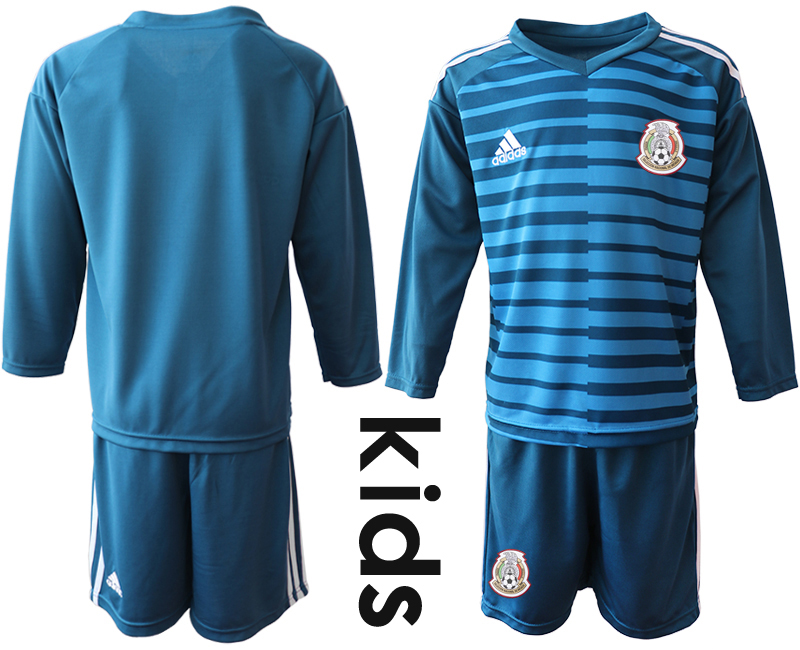Mexico Blue Youth 2018 FIFA World Cup Long Sleeve Goalkeeper Soccer Jersey