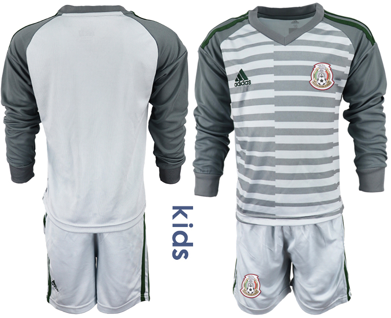 fd9be02bd Mexico Gray Youth 2018 FIFA World Cup Long Sleeve Goalkeeper Soccer Jersey