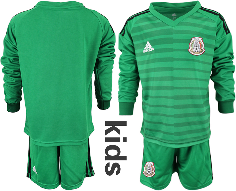 c774f39af Mexico Green Youth 2018 FIFA World Cup Long Sleeve Goalkeeper Soccer Jersey