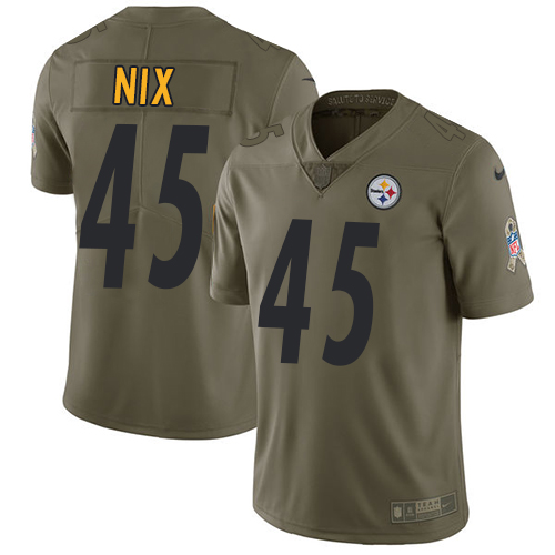 Nike Steelers 45 Roosevelt Nix Olive Salute To Service Limited Jersey
