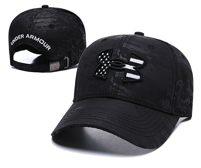 Under Armour USA Flag Pure Black Peaked Adjustable Hat TX