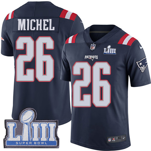 Nike Patriots 26 Sony Michel Navy 2019 Super Bowl LIII Color Rush Limited Jersey