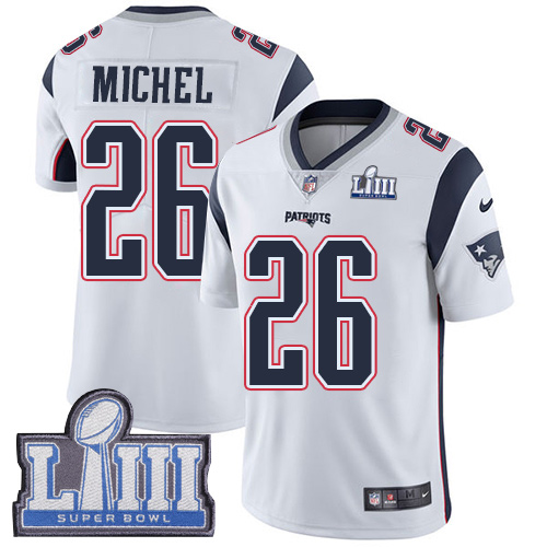 Nike Patriots 26 Sony Michel White 2019 Super Bowl LIII Vapor Untouchable Limited Jersey