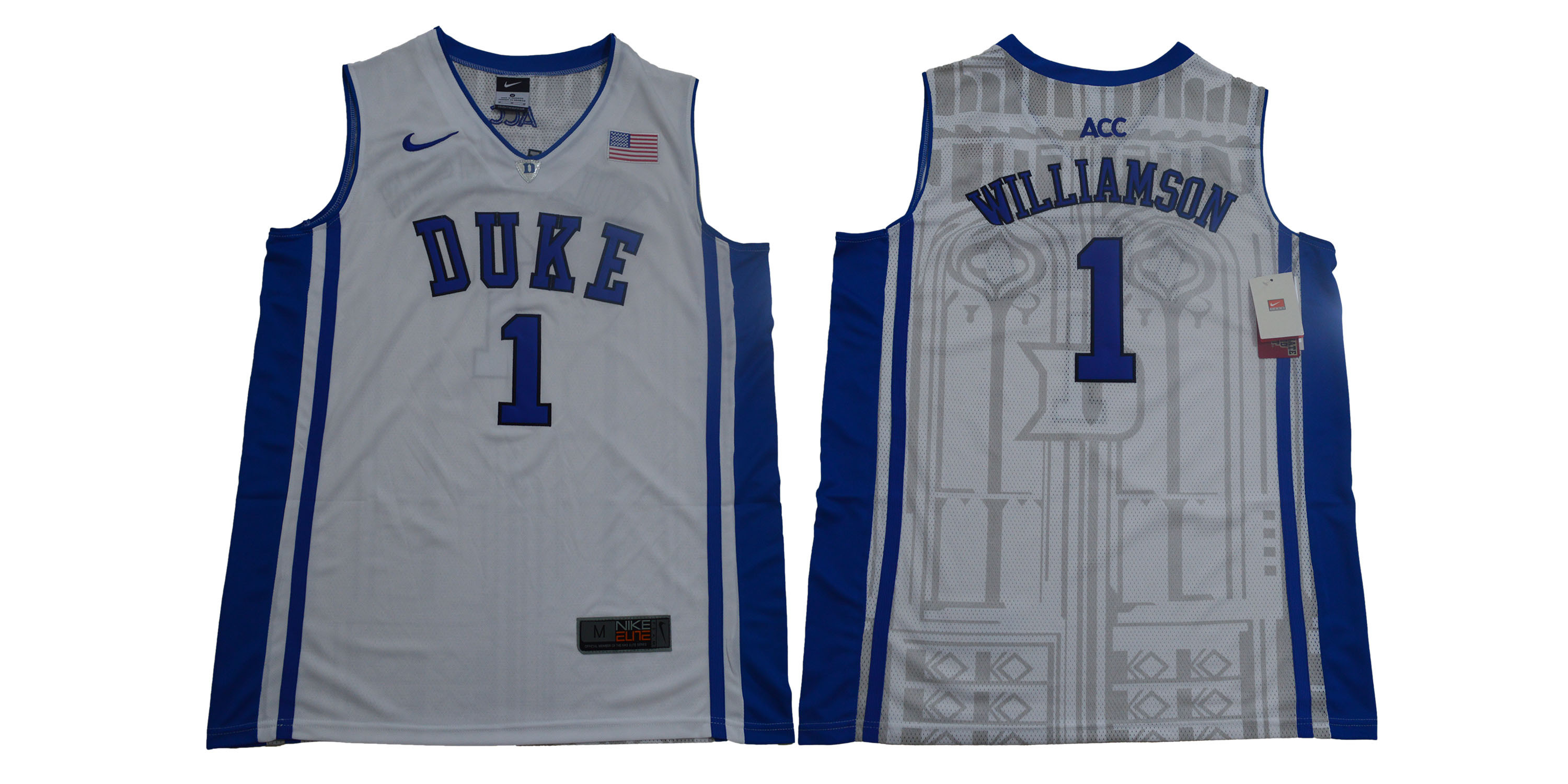 Duke Blue Devils 1 Zion Williamson White Nike Elite College Basketball Jersey
