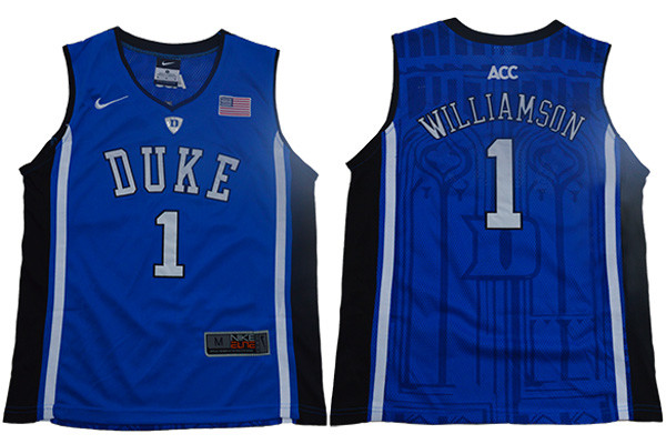 Duke Blue Devils 1 Zion Williamson Black Youth Nike Elite College Basketball Jersey