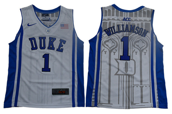 53d7ee74ad3 Duke Blue Devils 1 Zion Williamson White Youth Nike Elite College Basketball  Jersey