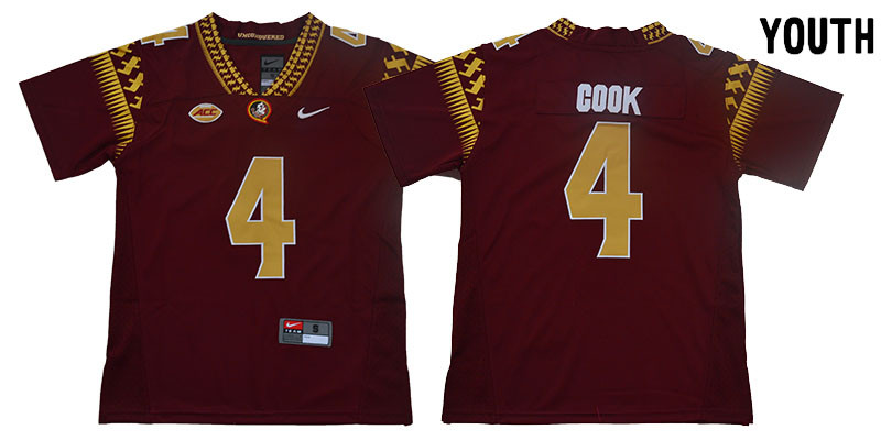 Florida State Seminoles 4 Dalvin Cook Red Youth College Football Jersey