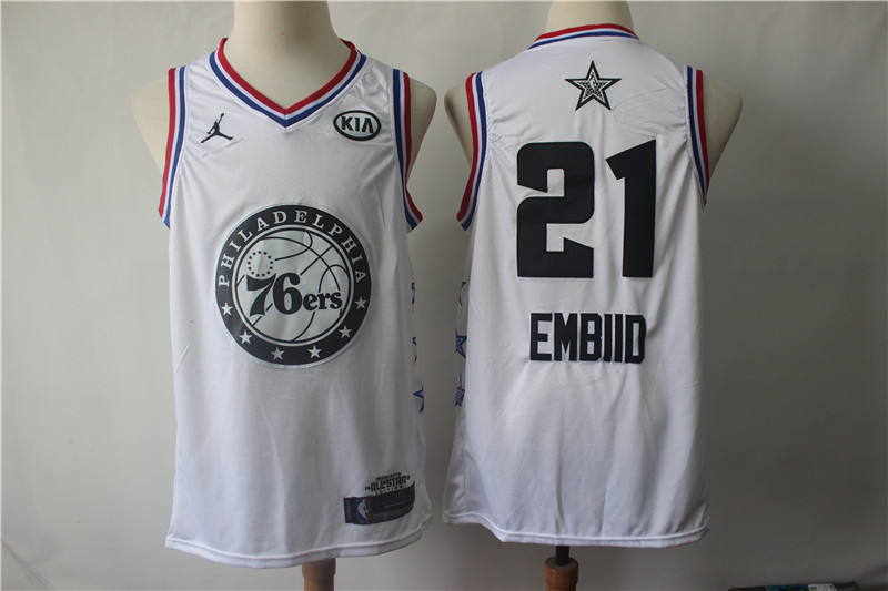 76ers 21 Joel Embiid White 2019 NBA All-Star Game Jordan Brand Swingman Jersey