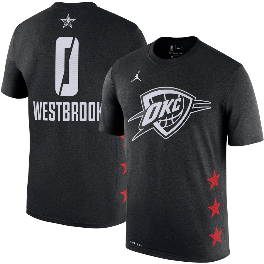 Oklahoma City Thunder 0 Russell Westbrook Jordan Brand 2019 NBA All-Star Game Name & Number T-Shirt Black