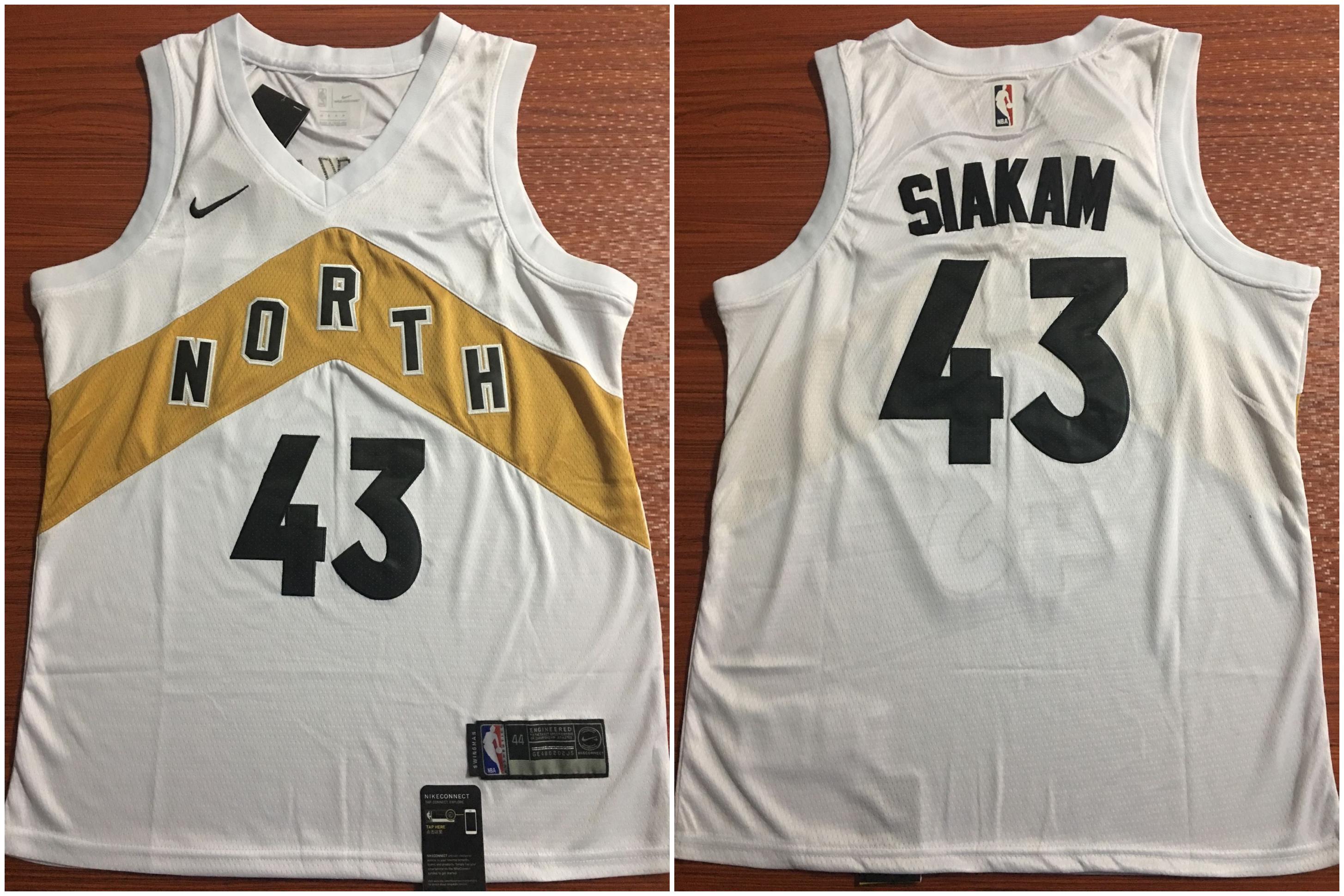 Raptors 43 Pascal Siakam White City Edition Nike Swingman Jersey