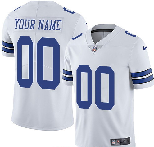 Nike Cowboys White Men's Customized Vapor Untouchable Limited Jersey