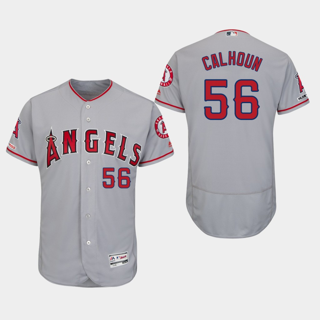 Angels 56 Kole Calhoun Gray 150th Patch Flexbase Jersey