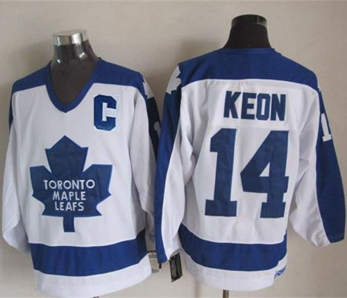 Maple Leafs 14 Dave Keon White With C Patch CCM Jersey