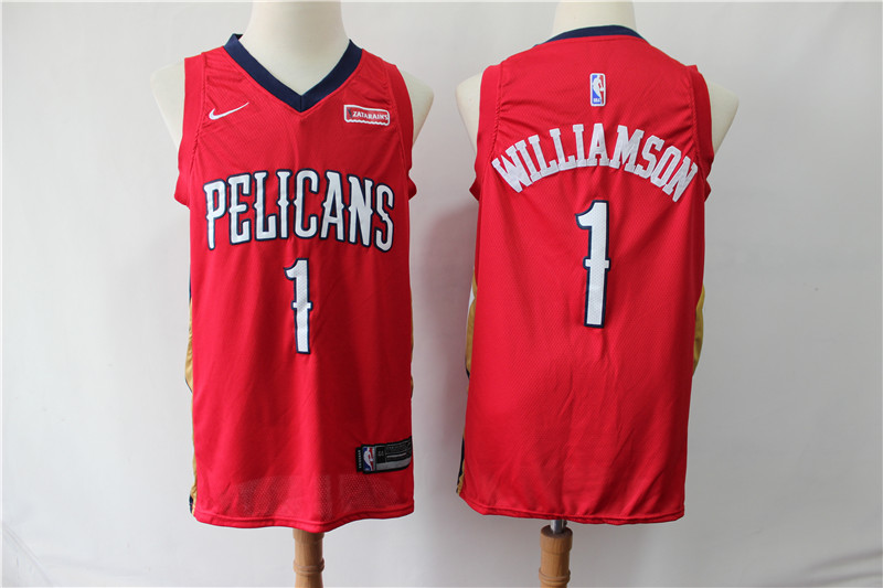 Pelicans 1 Zion Williamson Red Nike Swingman Jersey