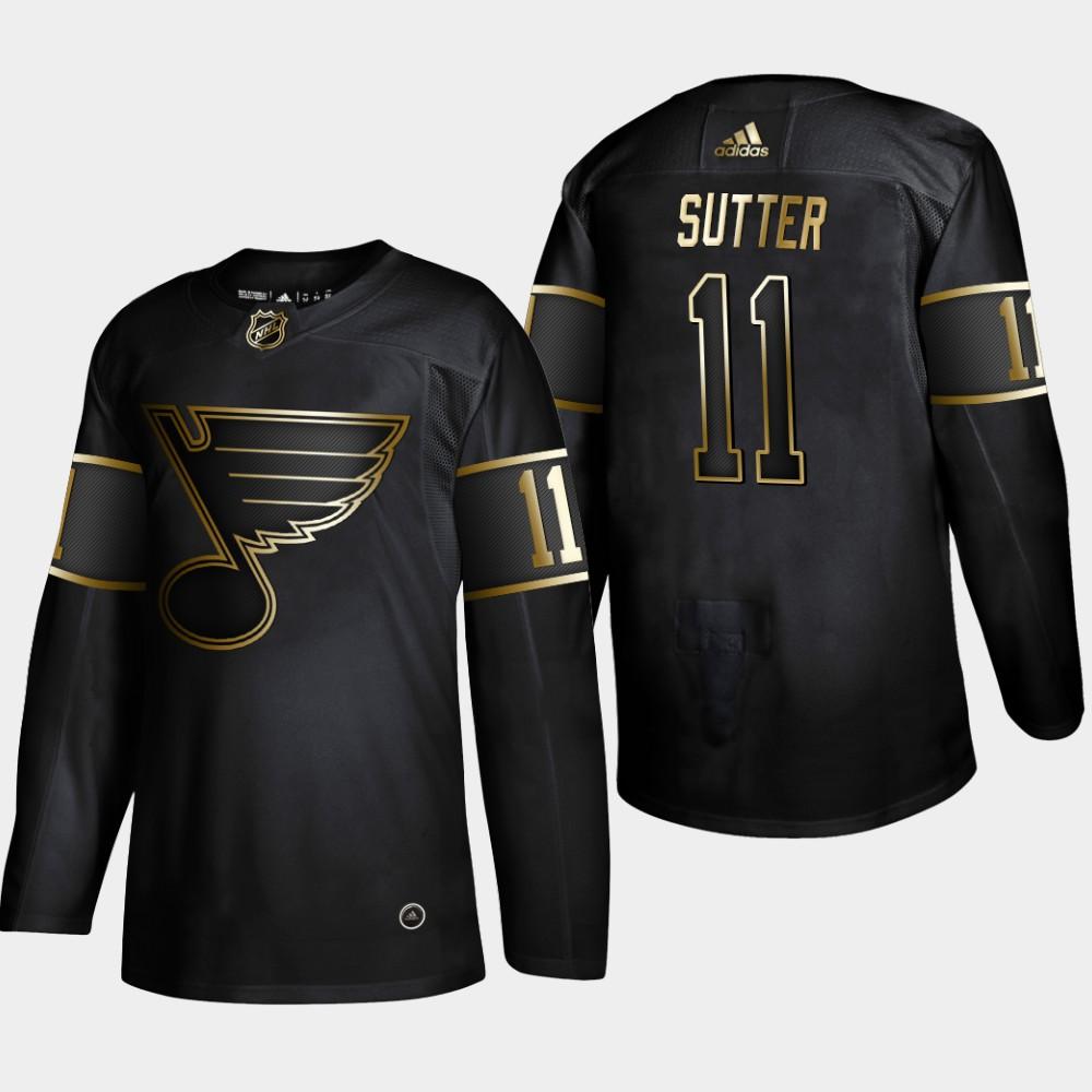 Blues 11 Brian Sutter Black Gold Adidas Jersey