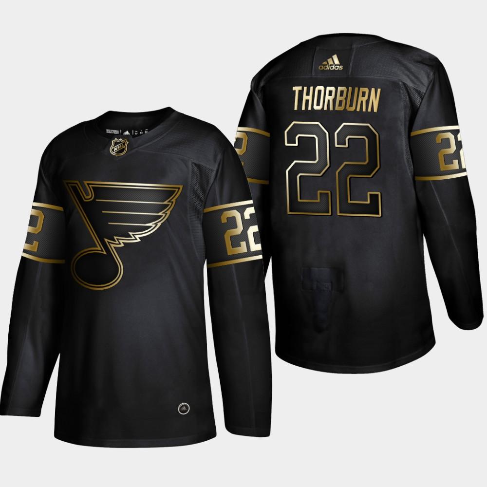 Blues 22 Chris Thorburn Black Gold Adidas Jersey