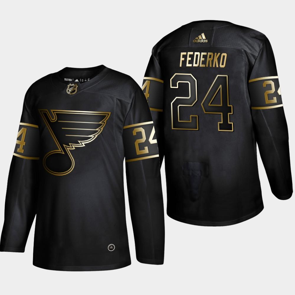 Blues 24 Bernie Federko Black Gold Adidas Jersey