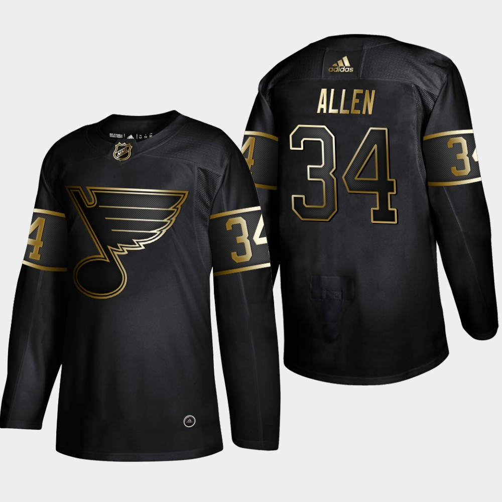 Blues 34 Jake Allen Black Gold Adidas Jersey