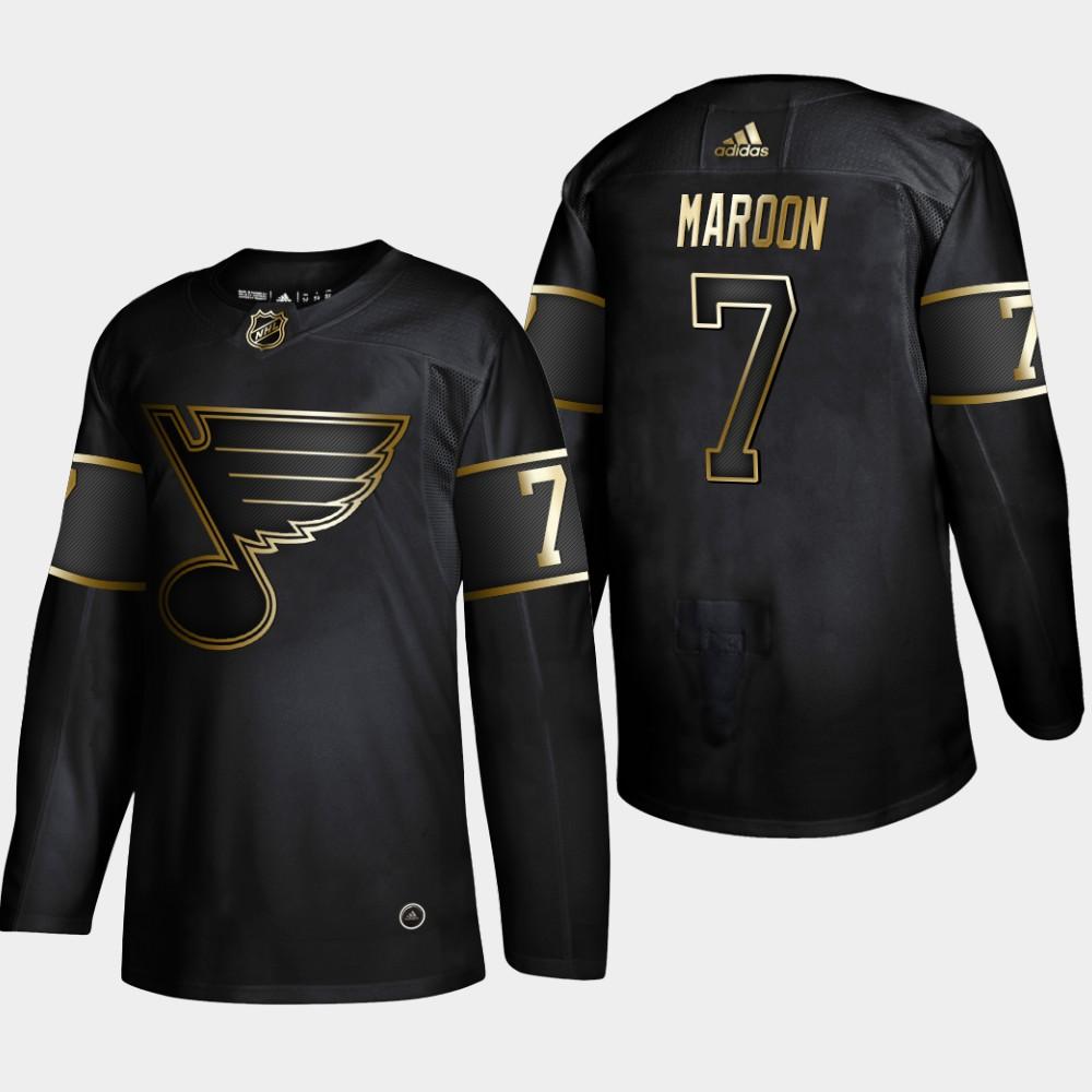 Blues 7 Patrick Maroon Black Gold Adidas Jersey