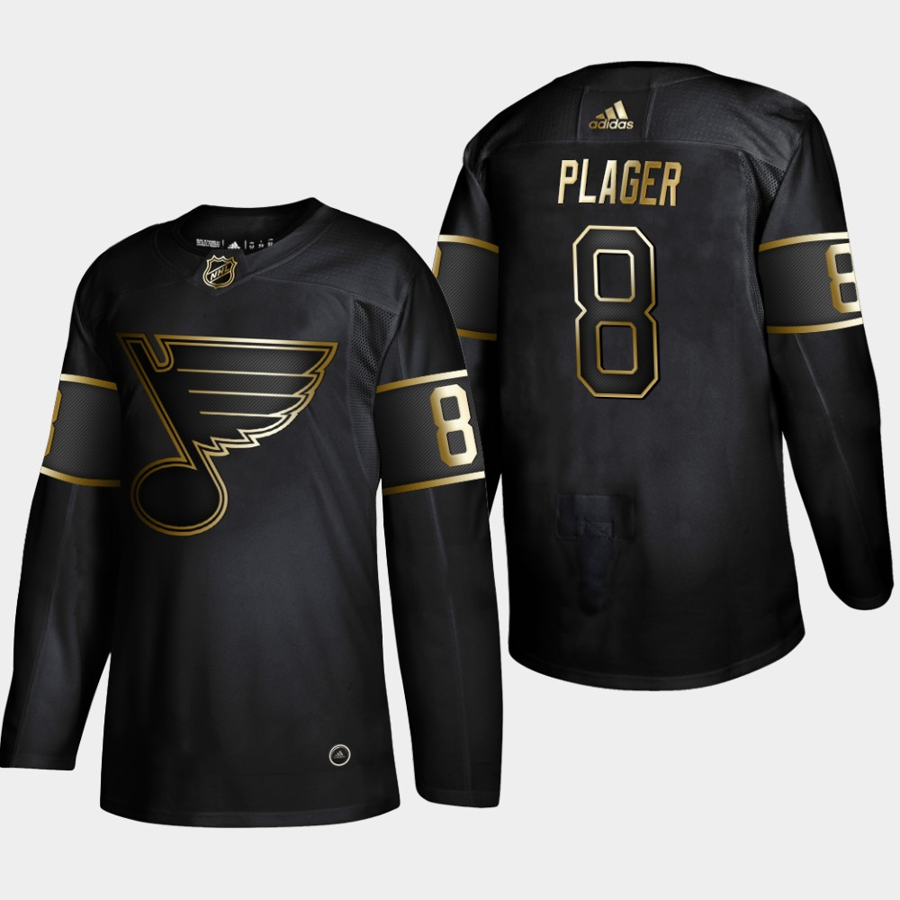 Blues 8 Barclay Plager Black Gold Adidas Jersey
