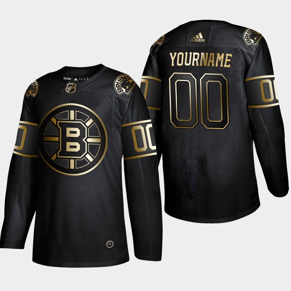 Bruins Customized Black Gold Adidas Jersey