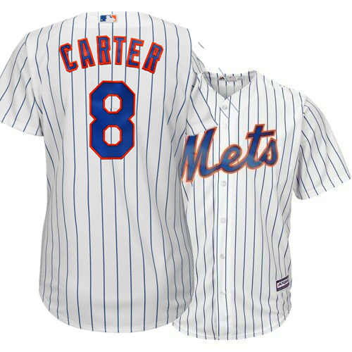 Mets 8 Gary Carter White Youth Cool Base Jersey