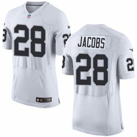 Nike Raiders 28 Josh Jacobs White Elite Jersey