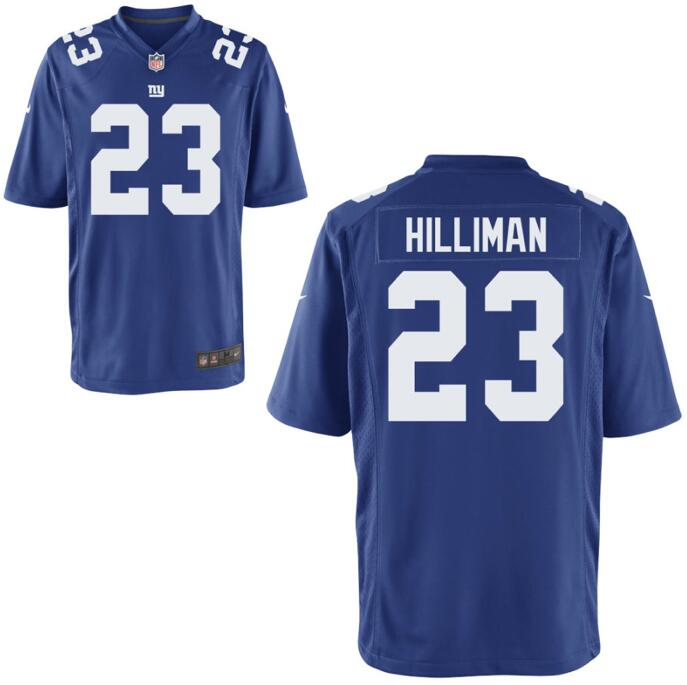 Nike Giants 23 Hilliman Royal Game Jersey