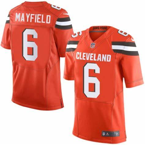 Nike Browns 6 Baker Mayfield Orange 2018 NFL Draft Pick Elite Jersey
