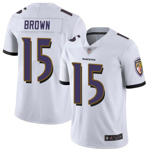 Nike Ravens 15 Marquise Brown White Youth Vapor Untouchable Limited Jersey