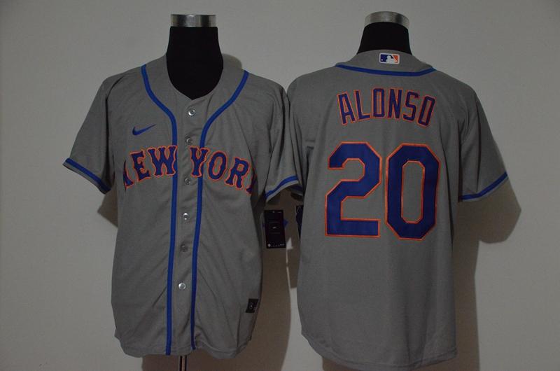 Mets 20 Pete Alonso Gray 2020 Nike Cool Base Jersey