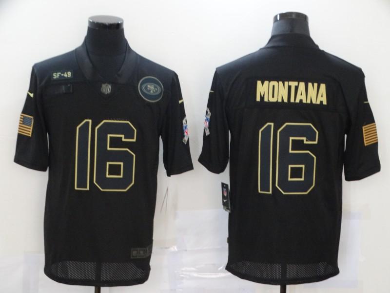 Nike 49ers 16 Joe Montana Black 2020 Salute To Service Limited Jersey