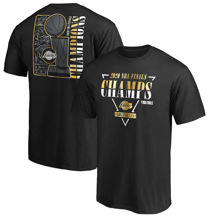 Men's Los Angeles Lakers Black 2020 NBA Finals Champions Believe The Game Signature T-Shirt
